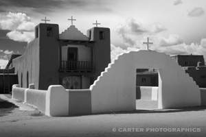 Photo of Geronimo Church in Taos taken by Carter Photographics