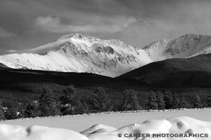Black & white photo from Berthoud Pass taken by Carter Photographics
